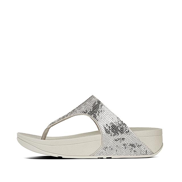 6b031dbff88989 ELECTRA. Micro-Sequin Toe-Thong Sandals