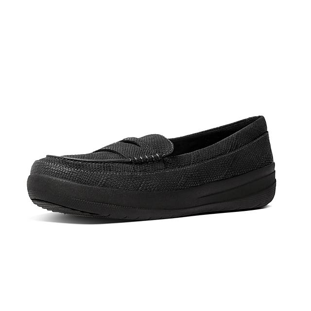 cf3e4651c05 Fitflop™ Women s F-Sporty Leather Loafers Black Schlange geprägt