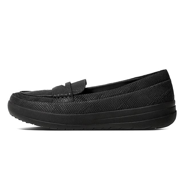 17ddb1cd869 Fitflop™ Women s F-Sporty Leather Loafers Black Schlange geprägt