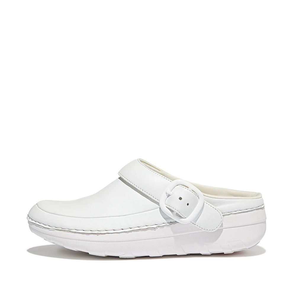 FitFlop Gogh Pro Superlight Leather Clogs Urban White womens shoes and clogs
