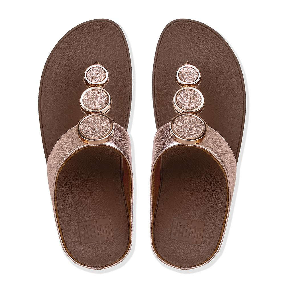 Halo Toe Thong Sandals - Rose Gold Leather