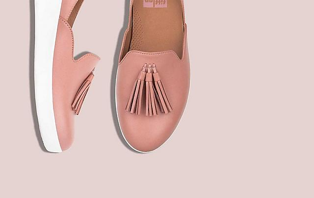 Fitflop Nude shoes with white base and Tassels