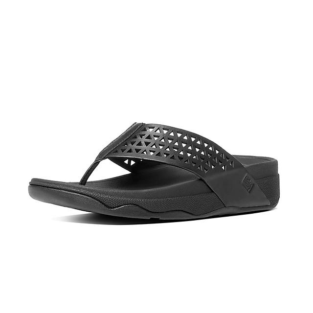 e783674d32c Leather Lattice Surfa Sandals All Black Official Fitflop™ Store ...