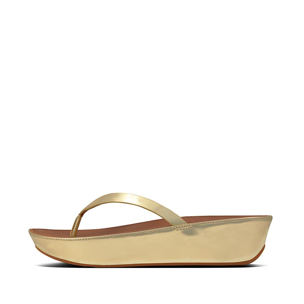 FitFlop Linny Womens Toe Post Sandals 6.5 301 Gold Mirror