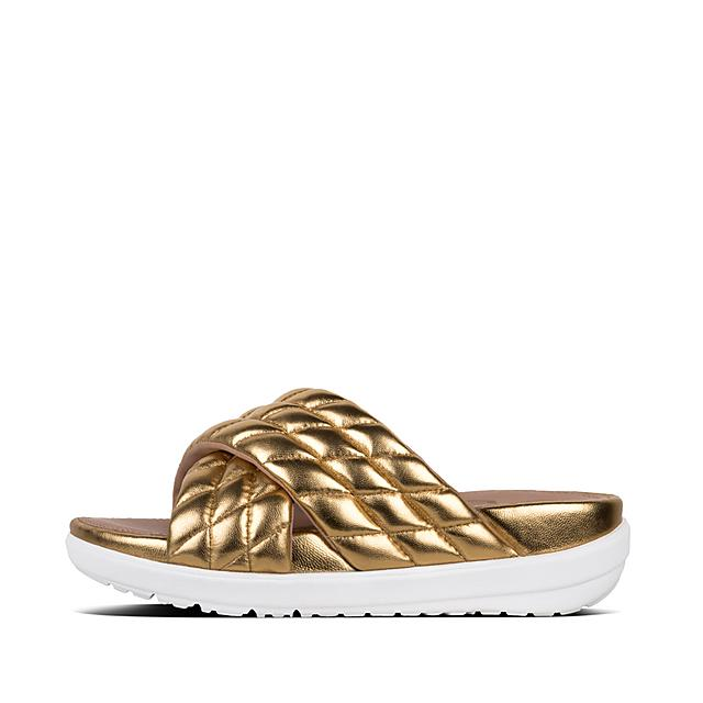 a30e999c6478b3 LOOSH LUXE. Metallic Leather Cross Slides