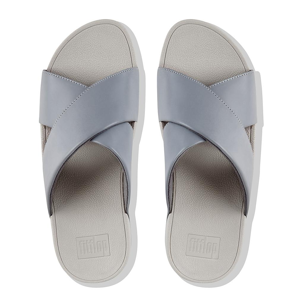 FitFlop Lulu Cross Slide Leather, Sandales Bout Ouvert Femme, (Dove Blue 534), 37 EU