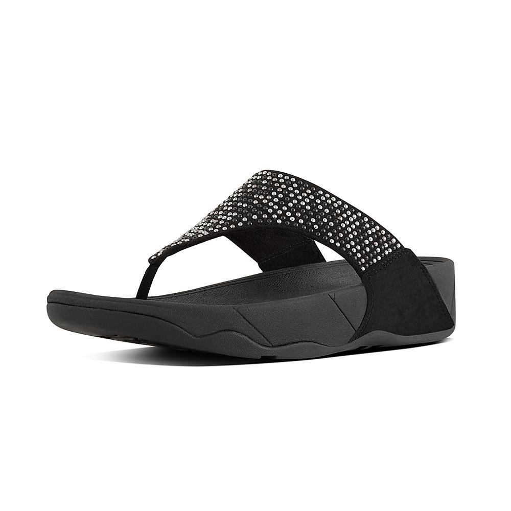 Black toe post stud sandals