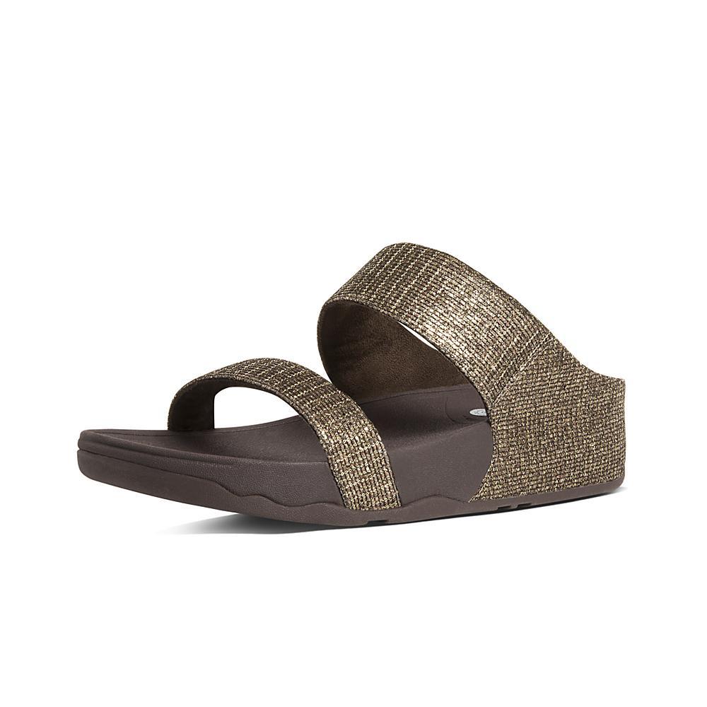 FitFlop Lulu Superglitz Flip Flops Copper womens sandals