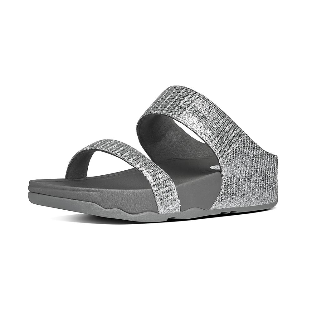 Fitflop Sandals Womens - Fitflop Lulu Superglitz Silver