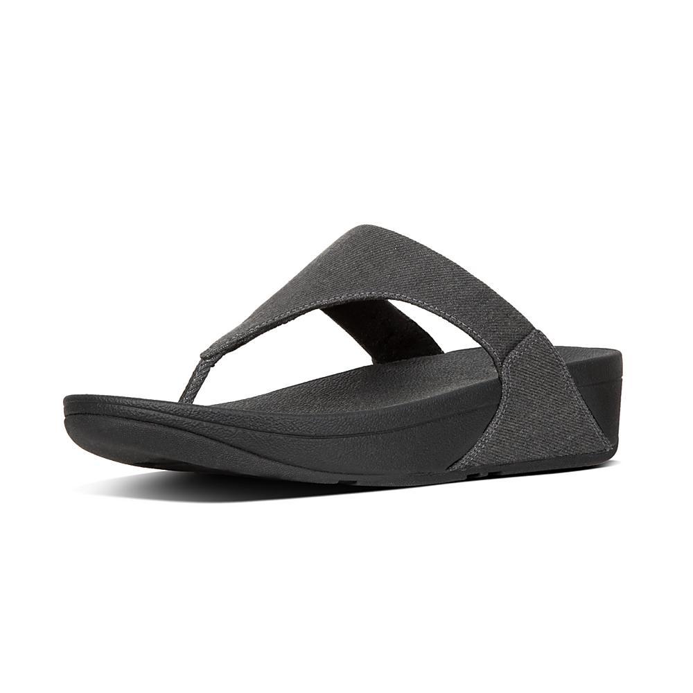cfd0e9e016ca Details about FIT FLOP sandals Flip-flops black in denim glittering LULU  K62-532