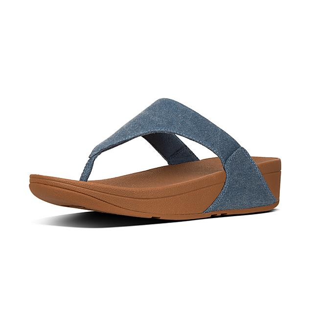 2cf5bef4fbb2 LULU. Shimmer Denim Toe-Post Sandals