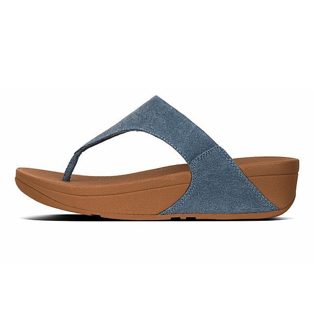 740e2684404 LULU. Shimmer Denim Toe-Post Sandals
