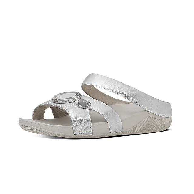 Luna Leather Faux Pop Slides Women's LUGSVjqzMp