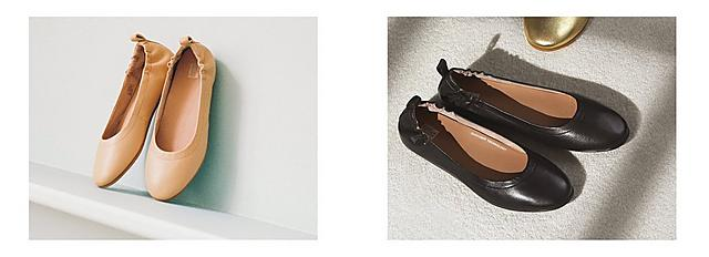 Nude coloured ballerina shoes are places on a small shelf. Black ballerina shoes are placed on a grey carpet.