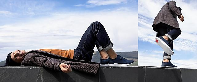 Fitflop Mens Navy Flexknit Sneakers with blue laces and white Base.