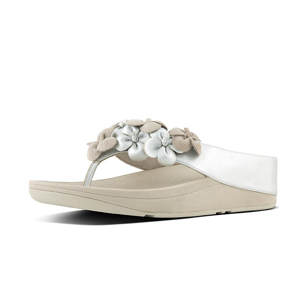Fitflop Womens Ringer Textile Sandals Metallic Silver