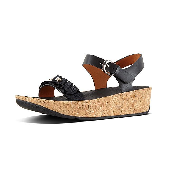 d49b7c99532e55 Women s RUFFLE Leather Back-Strap-Sandals