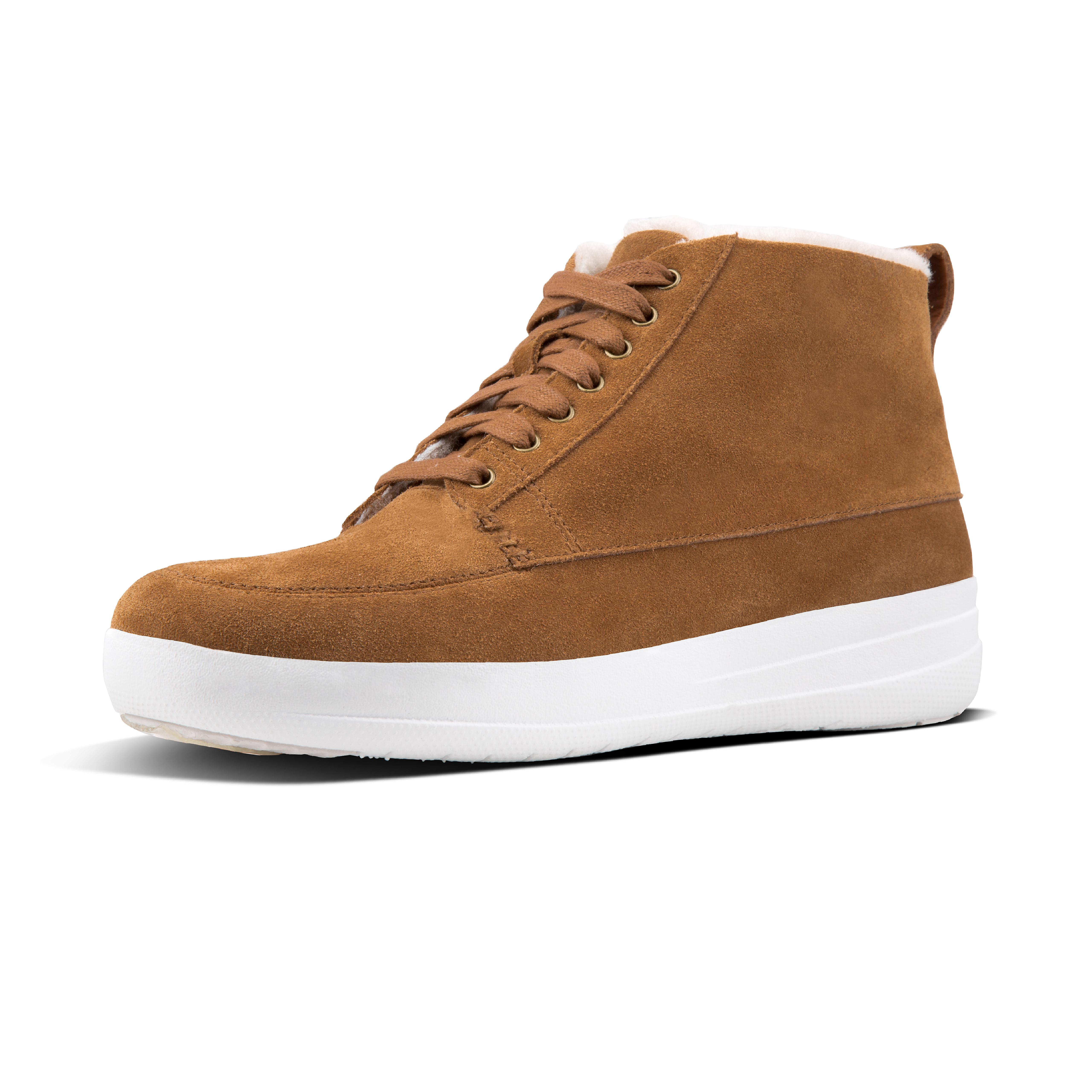 Sneakers that combine high-top cool with ultra cosiness. Crafted in soft suede with a fluffy toe-toasting shearling lining, and our superlight, all-day cushioning Anatomicush midsoles beneath, these deliver laidback style on the outside (try them with skinnies and an slouchy sweater) and instant 'snug' on the inside. Autumn/winter must-haves.