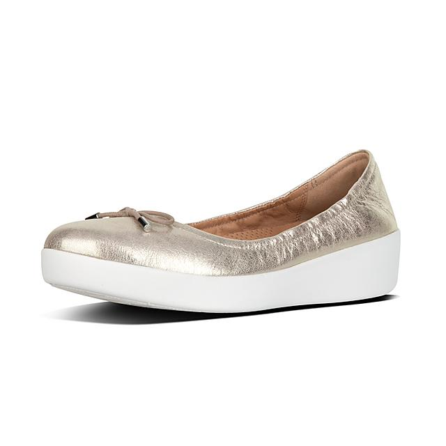 434b01e43302 SUPERBENDY. Metallic Leather Ballet Flats