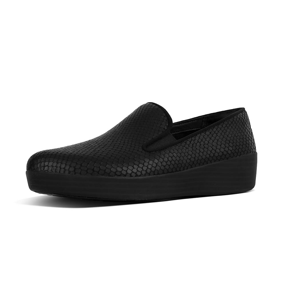 FitFlop Women's Superskate Snake Embossed Leather Sneaker Loafers zzT8vh
