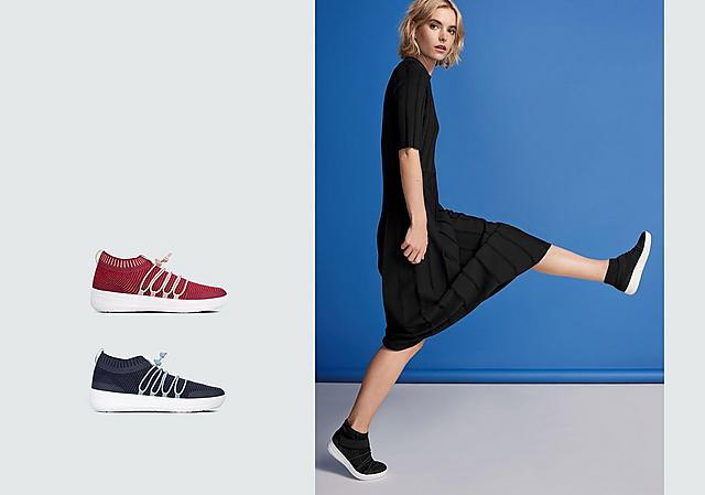 Slip-on Sneakers featuring bungee cord in Pink and white and Black slip-on high-top sneakers.