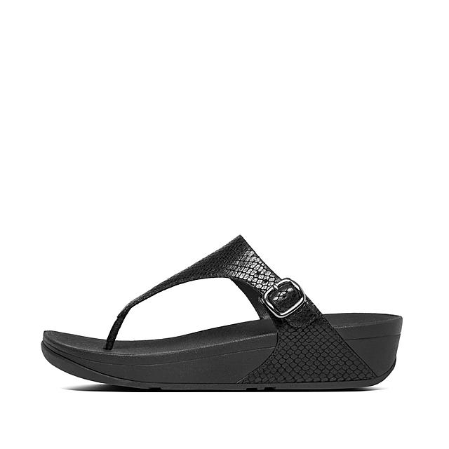 7fca063d2 Fitflop™ Women s The-Skinny Leather Toe-Thongs Black Schlangenhaut