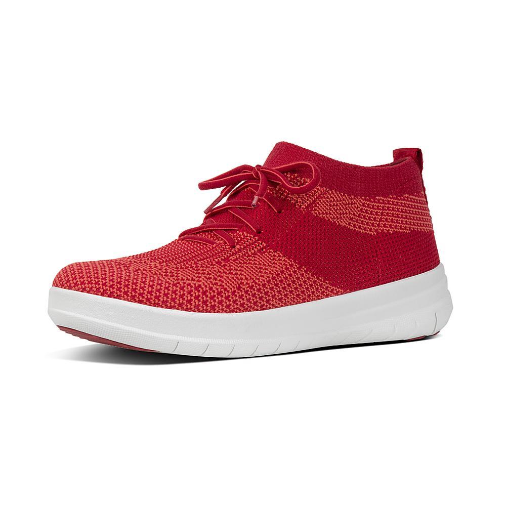 FitFlop Berknit Slip On High Top Sneakers Classic Red womens sneakers