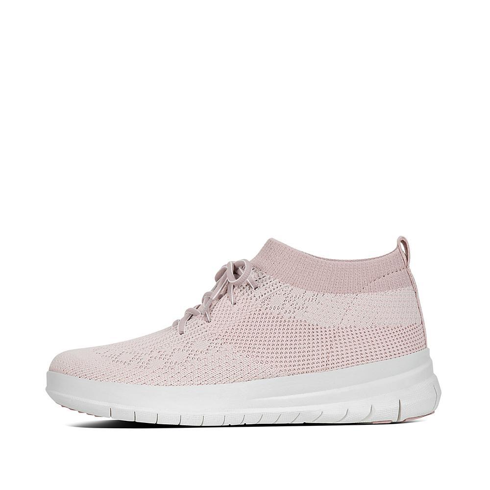 FitFlop Uberknit Slip On High Top Sneaker Neon Blush White XYWZPT