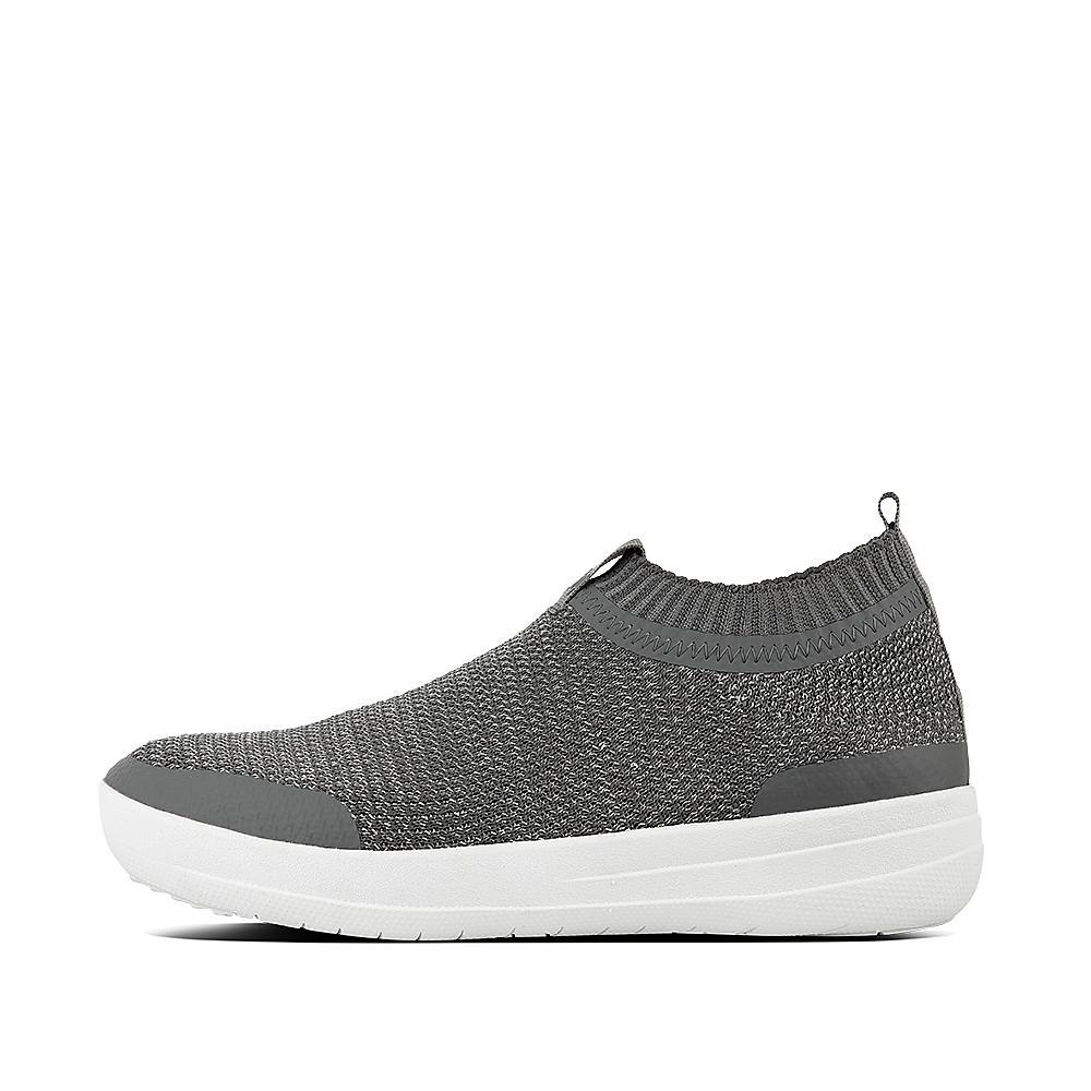 Uberknit slip on sneakers metallic weave charcoal metallic pewter l31 551