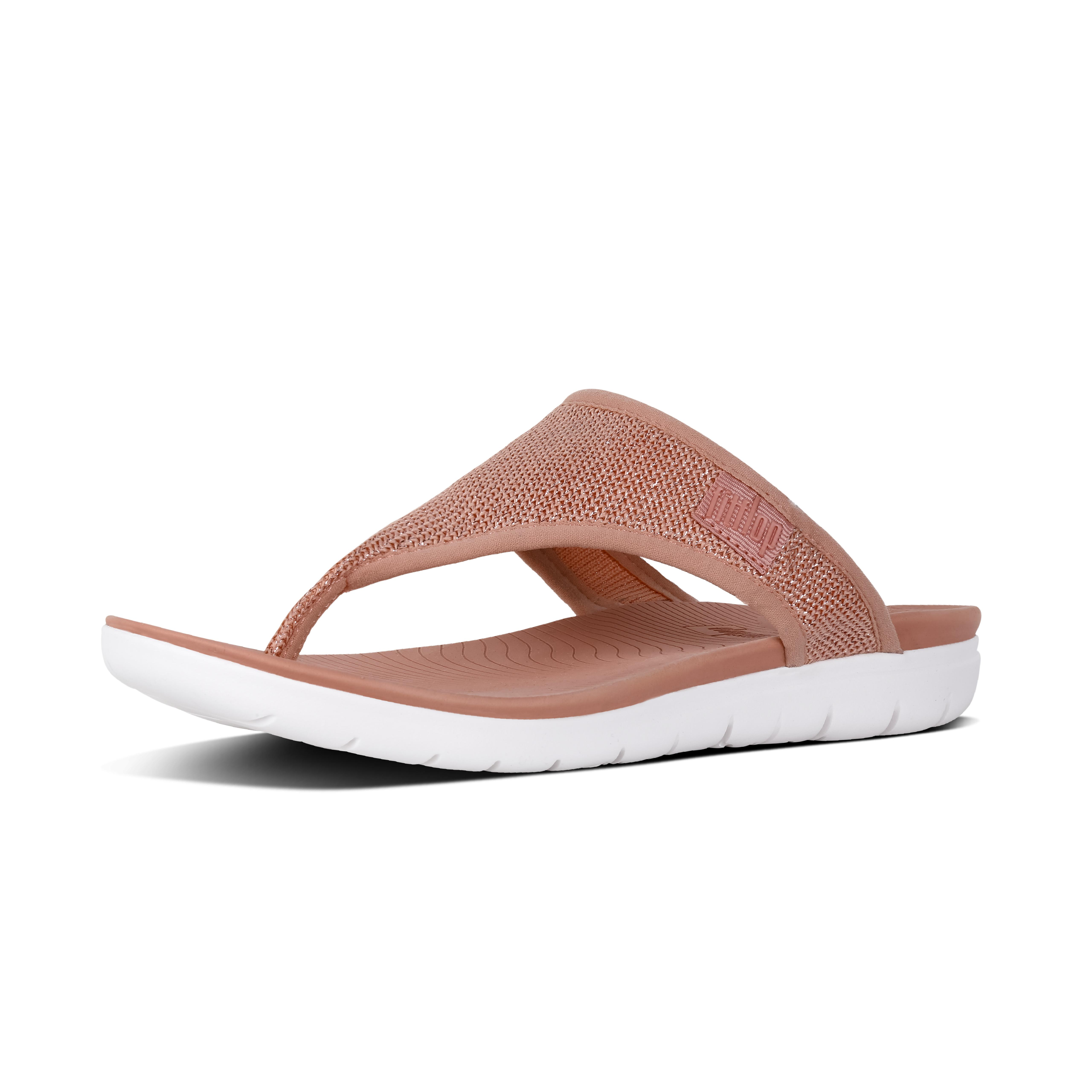 Uberknit toe thong sandals dusky pink metallic m46 612