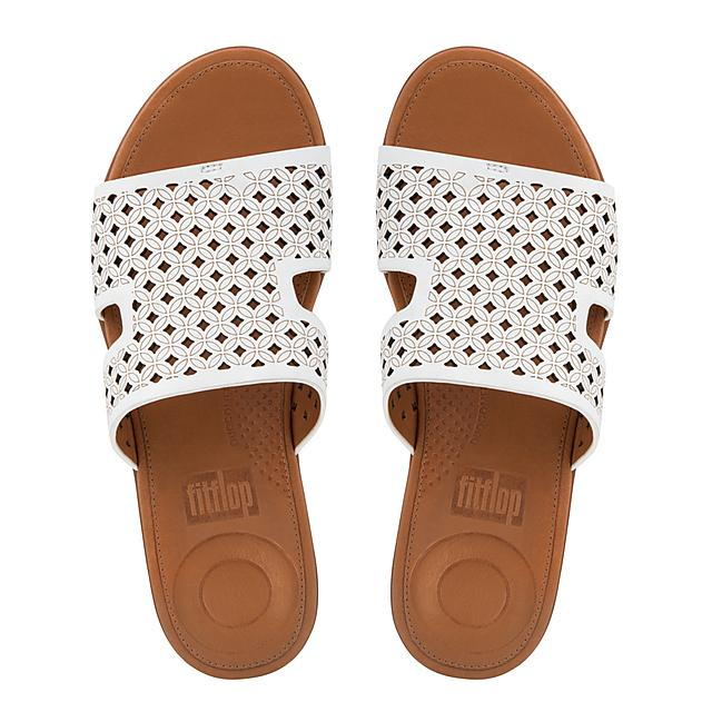 c5552b490 H-BAR. Latticed Leather Slide Sandals