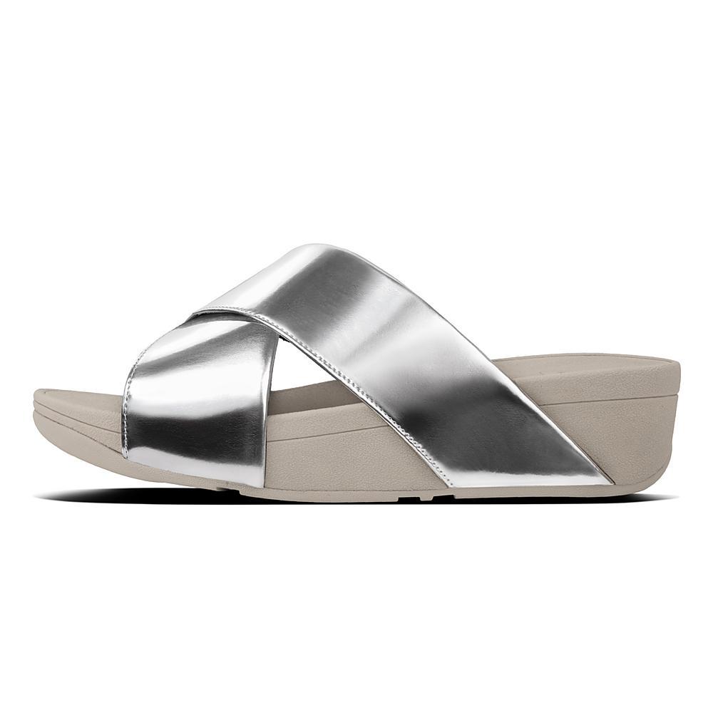 FitFlop Lulu Cross Slide Mirror, Sandales Femme, Argenté (Silver Mirror 300), 41 EU