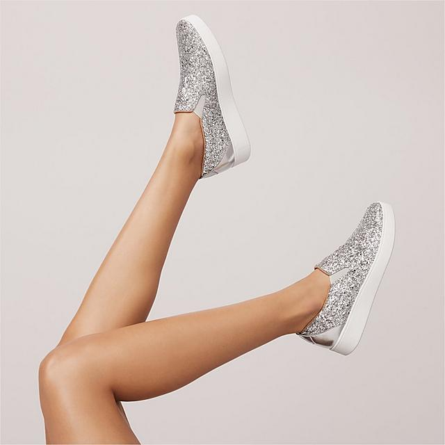 Fitflop skate-inspired, slip-on sneakers smothered in chunky silver glitter.