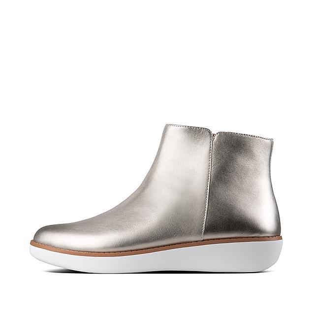 f1f024983b414 ZIGGY. Metallic Leather Zip Ankle Boot