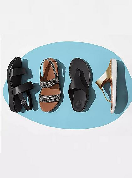 Selection of women's sandals. Back-strap, Toe-thongs and a variety of colours.