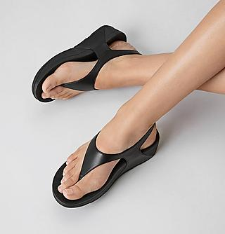 Woman black summer sandals.