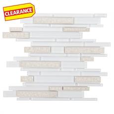 Clearance! Riva White Linear Stick Glass Mosaic