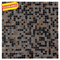 Clearance! Fusion Metallic Gray Brown Glass Mosaic
