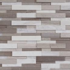 Valentino Gray and White Interlocking Panel Marble Mosaic