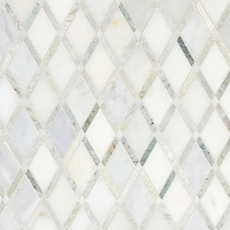 Carrara White Caribbean Green Diamond Marble Mosaic