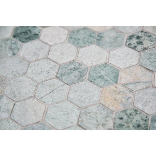 Marble Mosaic Floor Tile bathroom floor with marble tiles and marble mosaic inset tiles i loveee this look Caribbean Green Hexagon Marble Mosaic Click To Zoom