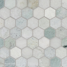 Caribbean Green Hexagon Marble Mosaic