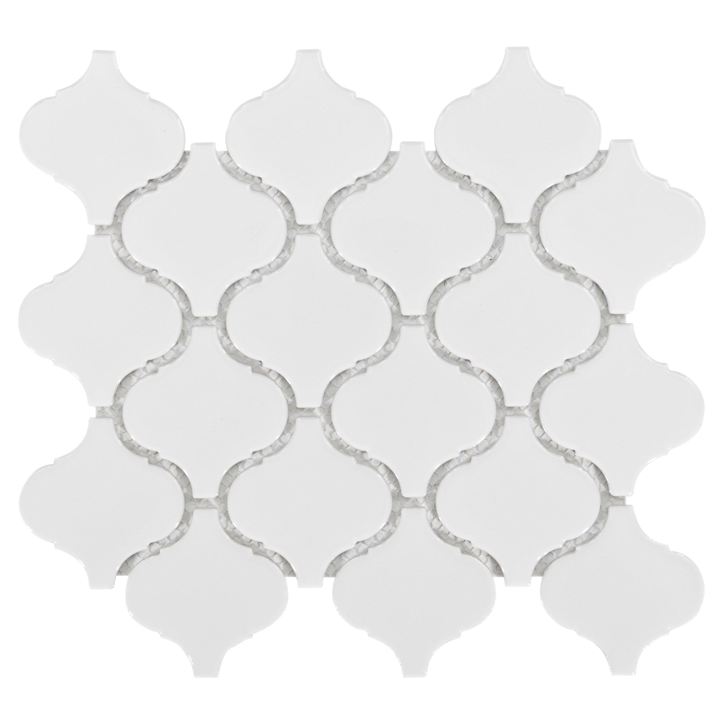 arabesque lantern white porcelain mosaic 10in x 11in floor and decor