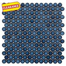 Clearance! Penny Dark Blue Porcelain Mosaic