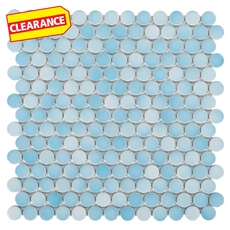 Clearance! Light Blue Multi Penny Porcelain Mosaic