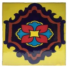 Hand-Painted Yellow Talavera Tile (Pattern RT4101)