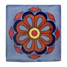 Hand-Painted Blue Talavera Tile (Pattern Rt4139)