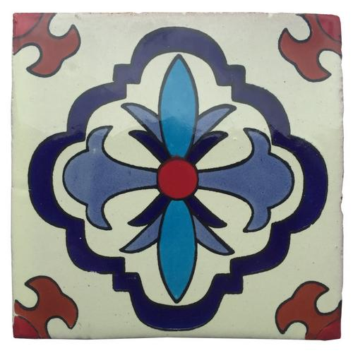 hand painted white talavera tile pattern rt4141 4 x 4