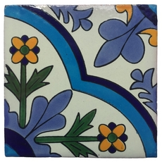 Hand-Painted White Talavera Tile (Pattern RT4169)