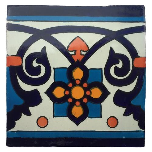 hand painted white talavera tile pattern rt6110a 6 x 6